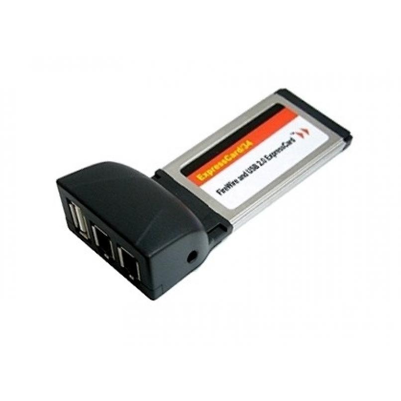ExpressCard Combo USB2.0+Firewire (2+1 port) IEEE 1394a - אזר אלקטרוניקס